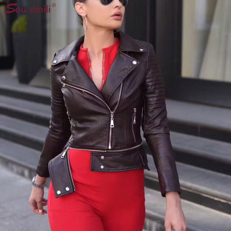 New Detachable Grey Leather Jacket Women Rivet Punk Moto Coat Faux Jacket jaquetas couro Casaco Jacket