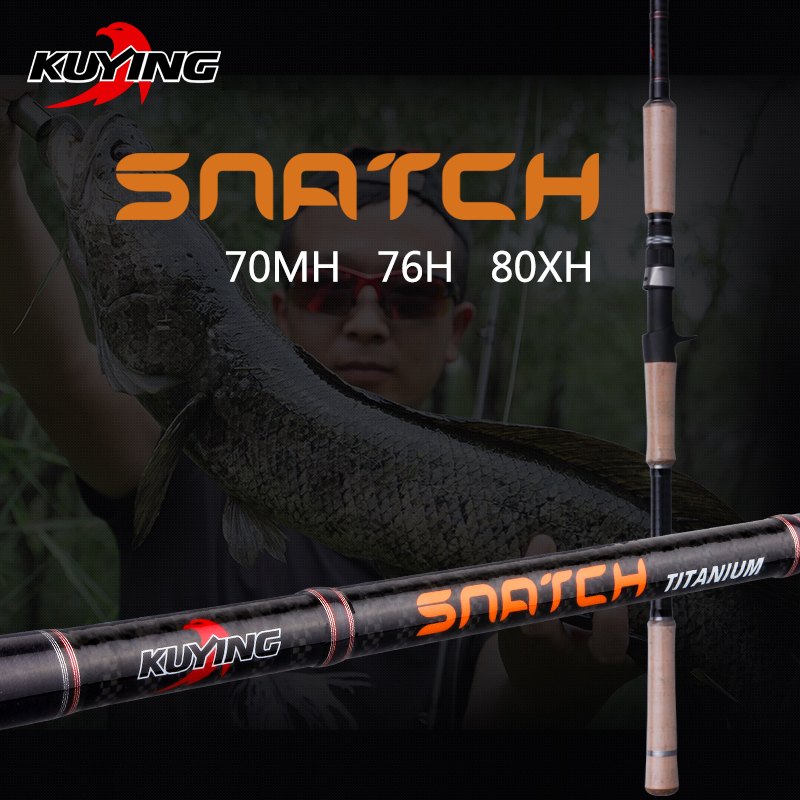 KUYING Snatch 1.5 Sections 2.1m 2.28m 2.4m Casting Carbon Hard Fishing Rod Cane Stick FUJI Part Medium Fast Action For Snakehead