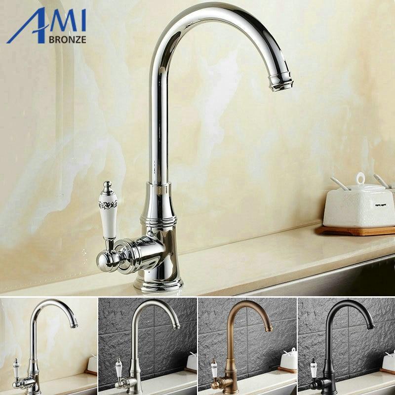 Kitchen Faucet 360 Swivel Basin Faucet Brass Hot Cold Mixer Sink Tap ...