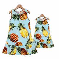 Neue Sommer Mutter Tochter Kleid Familie Passenden Kleidung Baumwolle obst Gedruckt Mama Und Tochter Kleider Familie Aussehen Outfits