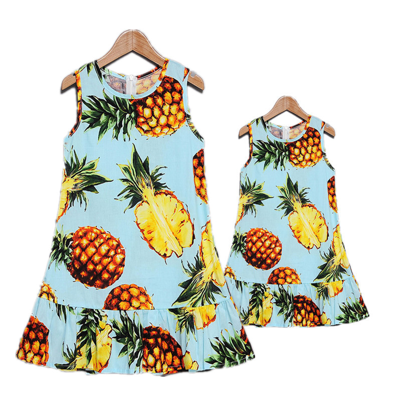 New Summer Mother Daughter Dress Family Matching Clothes Cotton Fruit Printed Mom And Daughter Dresses Family Look Outfits