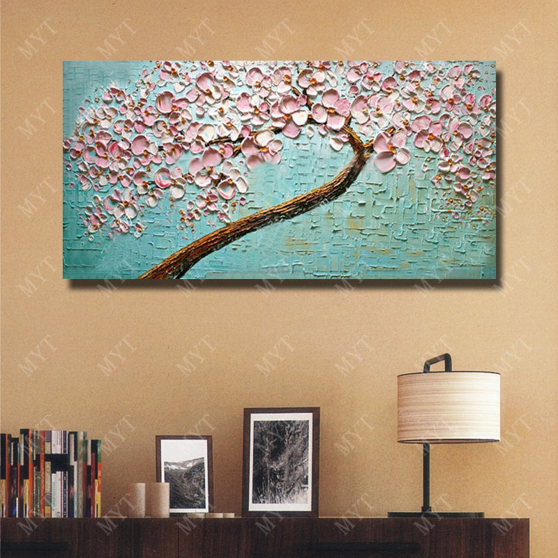 Pink Knife Flower Painting Large Canvas Art Hand Painted Oil Bedroom Wall Decor Hang Pictures No Framed In Calligraphy From Home