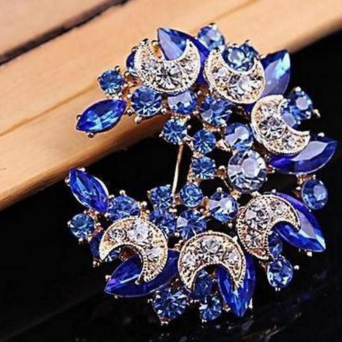 Бутоньерка на лацкан, булавки, прекрасный кристалл, модная женская свадебная брошь, хиджаб, булавки, ювелирные изделия, большой цветок, броши 20D - Окраска металла: bule