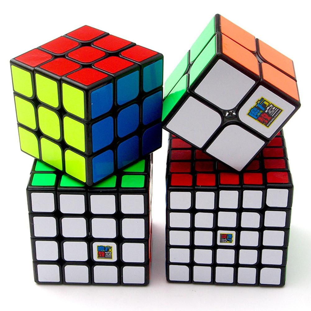 LeadingStar 4 Pcs Brain Teaser Cubes 2nd order 3rd order Fourth order Fifth order Stickers Speed Cubes Gift Set Black zk30