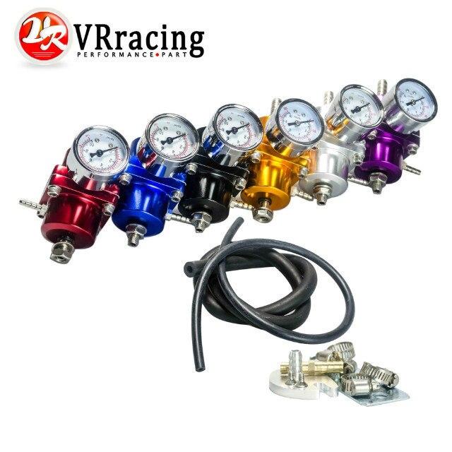 VR RACING - Universal JDM Adjustable FPR Fuel Pressure Regulator 0-140 PSI Gauge Gas Hose Kit VR7451