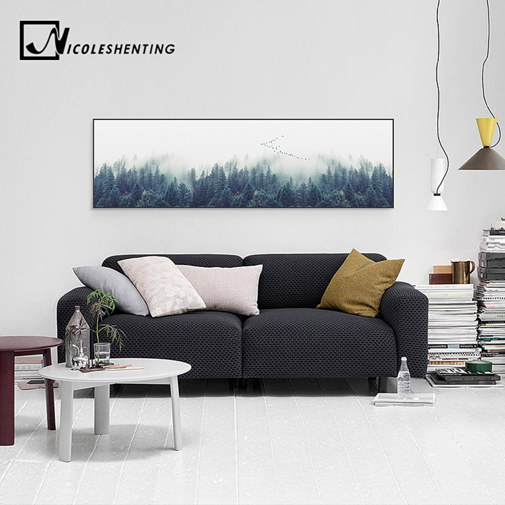 Nordic foggy forest landscape wall art poster canvas print - Landscape paintings for living room ...