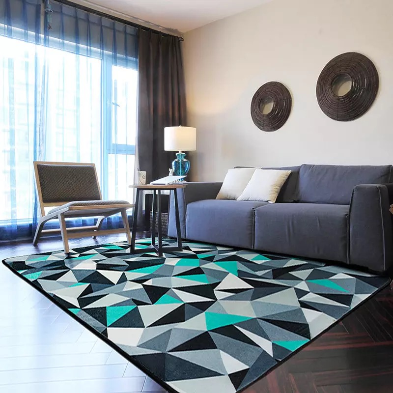 Blue And Grey Rug 100 150cm Modern Geometric Alfombra For