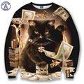 Mr.1991INC толстовки для мужчин/женщин 3d толстовка забавный печати большие деньги cat и золотые цветы толстовки осень топы