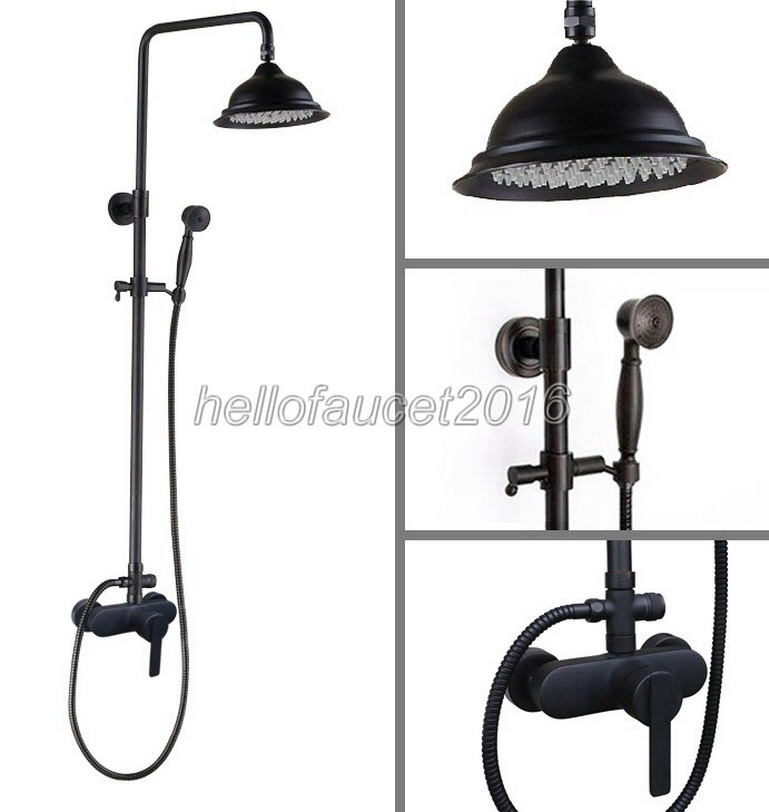 Wall Mounted Bathroom Rain Shower Faucet Set Black Oil Rubbed Bronze Single Lever Mixer Tap with + 8.2 inch Shower Heads lhg153