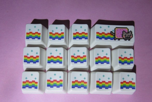 <font><b>14</b></font> keys/set Mechanical Keyboard PBT Dye Sublimation key caps OEM profile R4 Height Rainbow Fart Cat <font><b>Keycaps</b></font> free key cap puller image