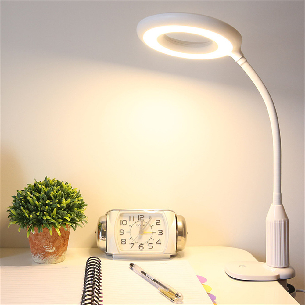 Vogue LED USB Clip Table Lamp White Warm Flexible Eye-protect Dimming Desk Lamp Light Bedroom On Book Luminaria De Mesa For Home wireless charging touch dimming usb desk lamp led night light modern adjustable reading desk lamps for home luminaria de mesa