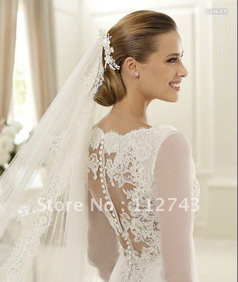 Simple Pretty Elegant Silky Organza Court Train Pleats Lique Lace Mermaid Jewel Long Sleeves Wedding Dress In Dresses From Weddings Events On
