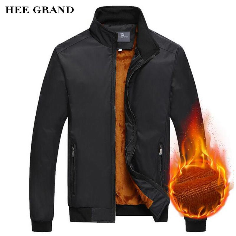 HEE GRAND Men Thick Spring Autumn Jacket 2017 New Arrival Stand Collar Rib Sleeve Casual Waterproof Overcoat 2 Colors MWJ2029