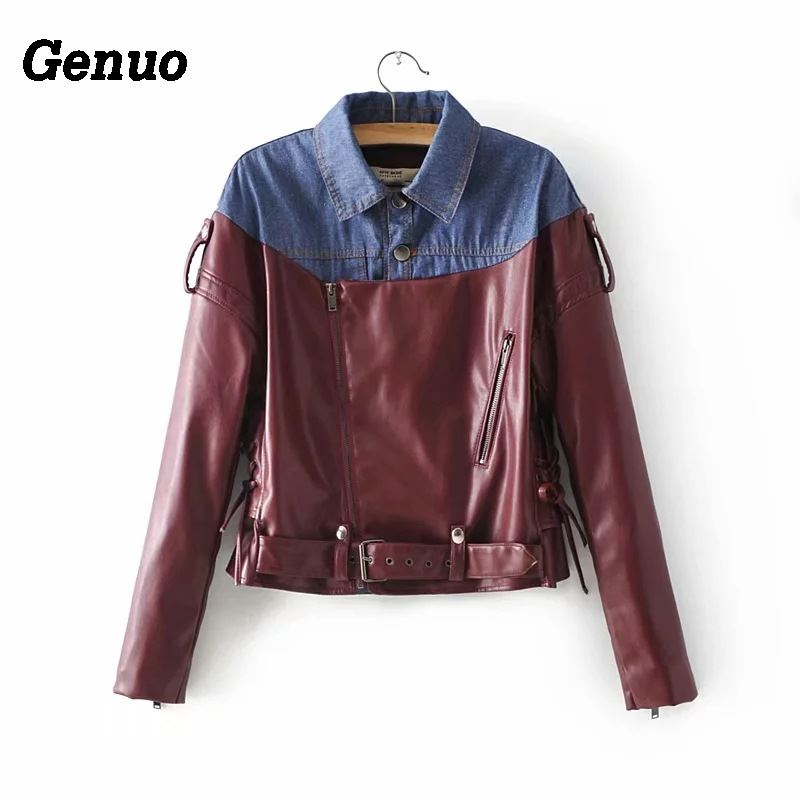 Genuo 2018 color block jean   leather   jacket women slim patchwork denim   leather   coat winter women motorcycle faux   leather   overcoat