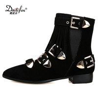Daitifen 2018 Fashion Genuine Leather Tactical Ankle Boots For Female Western Vintage Buckle Tassels Motorcycle Punk