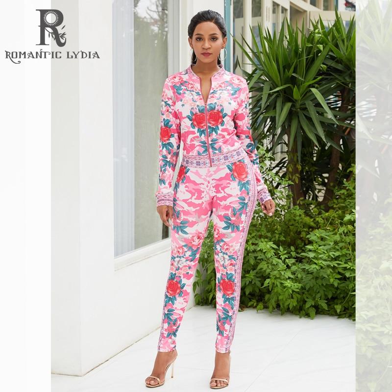 Summer Autumn 2 Piece Set Women Flower Printed Zipper Tops Pants Suit Tracksuits Long Sleeve Sportswear