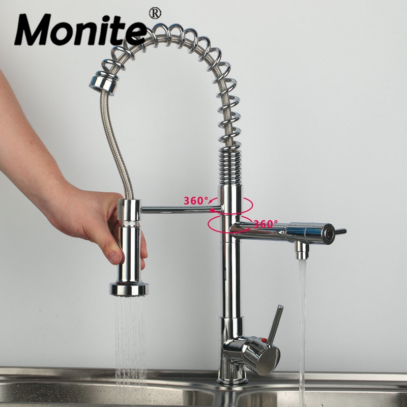 Best Quality Chrome Polished Water Kitchen Faucet Swivel Spout Pull Out Vessel Sink Torneira Mixer Tap ouboni high quality chrome finished pull out spring kitchen faucet swivel spout vessel sink mixer taps