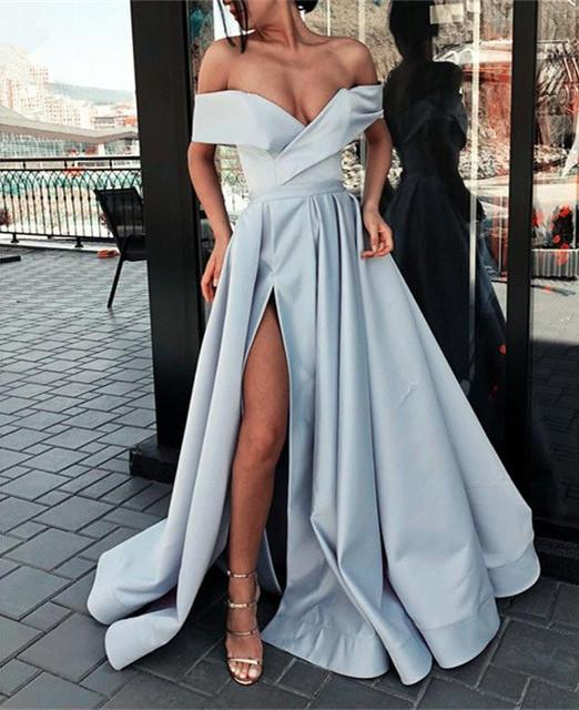 Champagne Muslim Evening Dresses 2019 Off the Shoulder A Line Long Evening Gown abiyeSatin Slit Formal Dress robe de soiree in Evening Dresses from Weddings Events