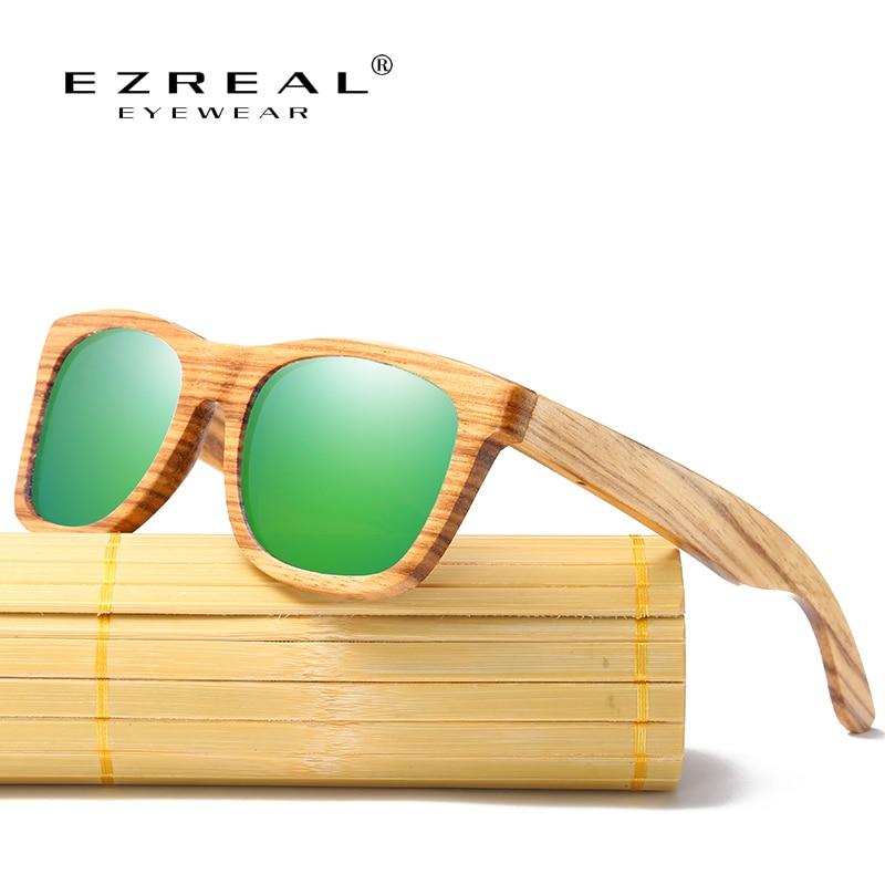 EZREAL الخيزران النظارات الشمسية الرجال زيبرا خشبية النظارات النساء العلامة التجارية مصمم الأصلي الخشب النظارات oculos دي سول masculino