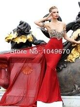 Reizvolle Elegante Red Liebsten Verziert Mit Kristall perlen Mermaid Abendkleid Bodenlangen Chiffon Prom Kleider N136
