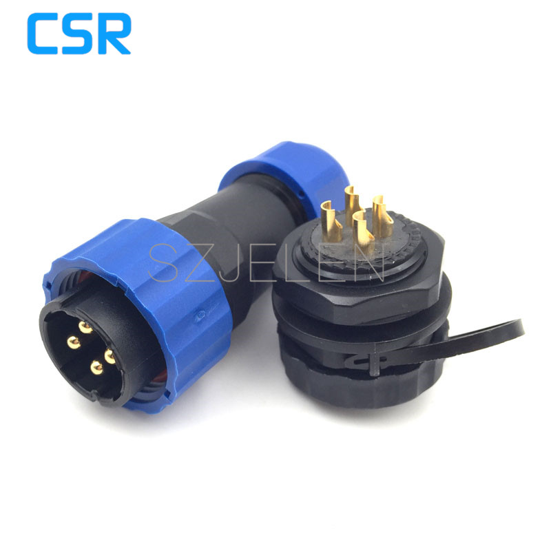 SD20TP-ZM, 4pin IP68 waterproof power wire connector male to female for outdoor, Rated current 25A, 20mm panel mount connector