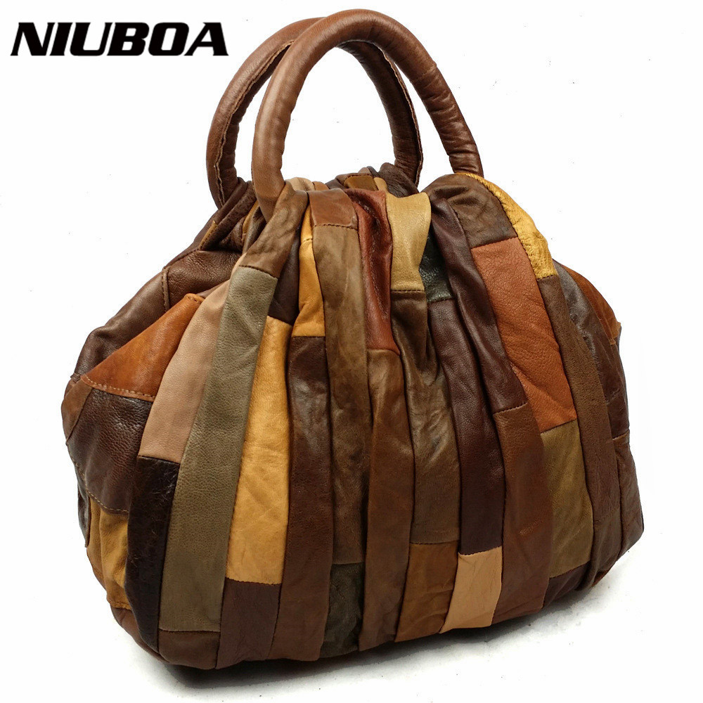 NIUBOA Women Genuine Leather Handbags Mini Skin Bolsas High Quality Lady Hobos Natural Cowhide Casual Shopping Shoulder Bags chispaulo women genuine leather handbags cowhide patent famous brands designer handbags high quality tote bag bolsa tassel c165