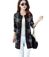 2015 Autumn And Winter Female Woolen Knit Jacquard Patterns Women S Casual Striped Sweater Coat Cardigan