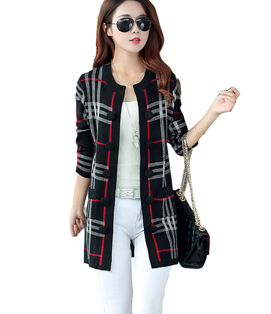 7561a0be8 2017 New women s spring Female woolen Knit Jacquard patterns Women s casual  striped Sweater coat Cardigan Sweater coat female-in Cardigans from Women s  ...