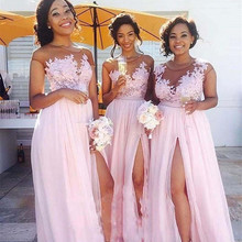 Pink 2019 Bridesmaid Dresses For Women A-line Cap Sleeves Ch