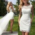 Лето стиль одежды из двух частей короткое свадебное платье Vestido де Noiva курто ренда свадебное платье оболочка кружево съемные юбка z71704