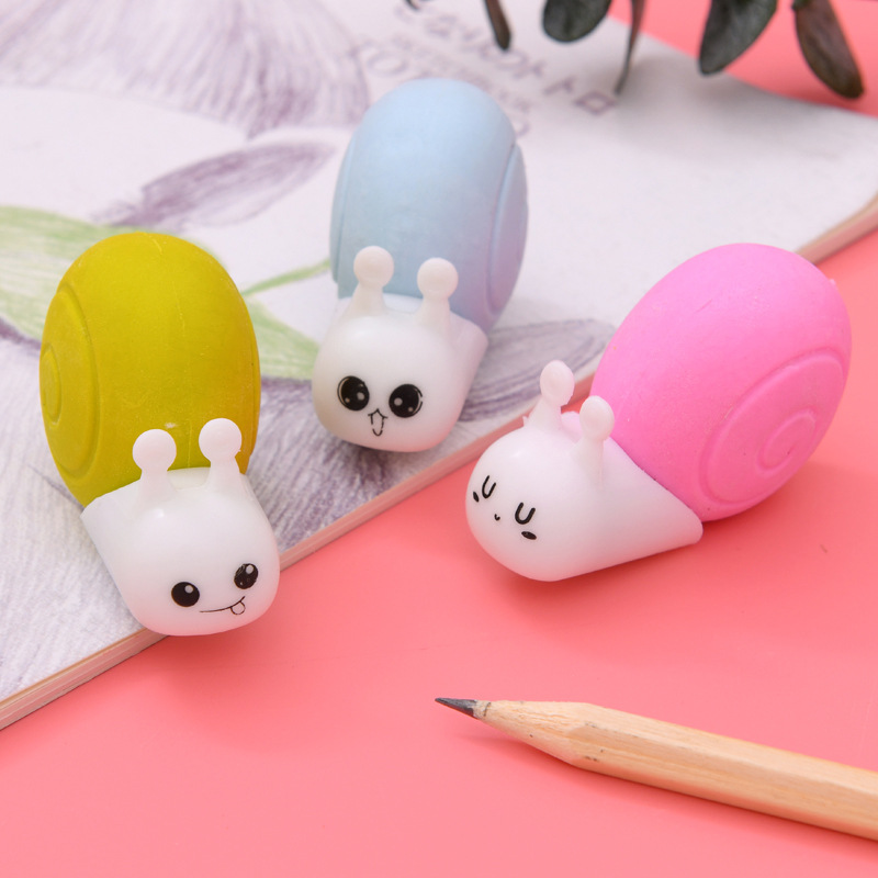1 Pcs Cute Small Snail Eraser Rubber Stationery Creative Kawaii Papelaria Child Learning School Supplies Office Supplies