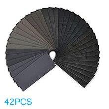 цена на Newest 42 Sheets Sandpaper Waterproof Abrasive Sand Paper Grinding Polish Tool @8
