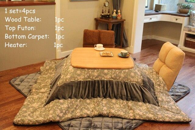 (4 pçs/set) kotatsu japonês Mesa Conjunto de Mobília Da Sala de Mesa Aquecida Aquecedor Pé Wamer Futon Kotatsu Mesa De Madeira Quadrado 80 cm