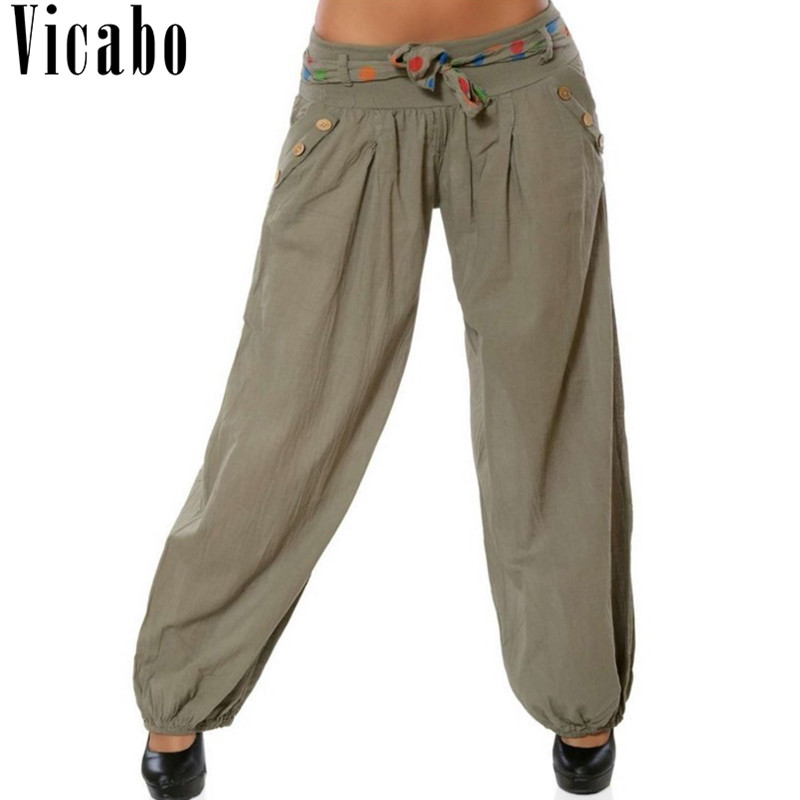 Womens Cotton Linen Elastic Waist Baggy Wide Leg Harem Pants Casual Trousers