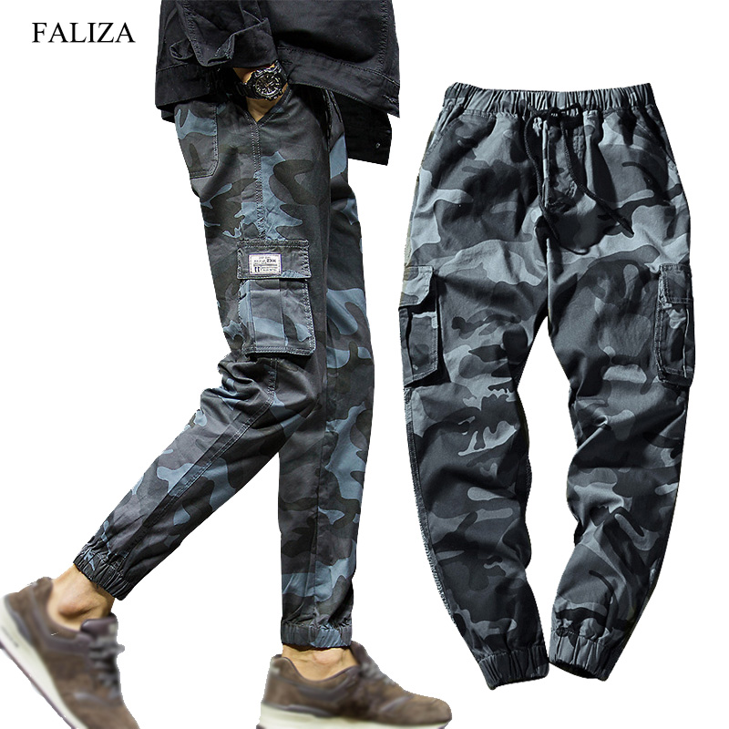 FALIZA Harem Pants Pockets Trousers Men Streetwear 7XL Camouflage Mens Spring