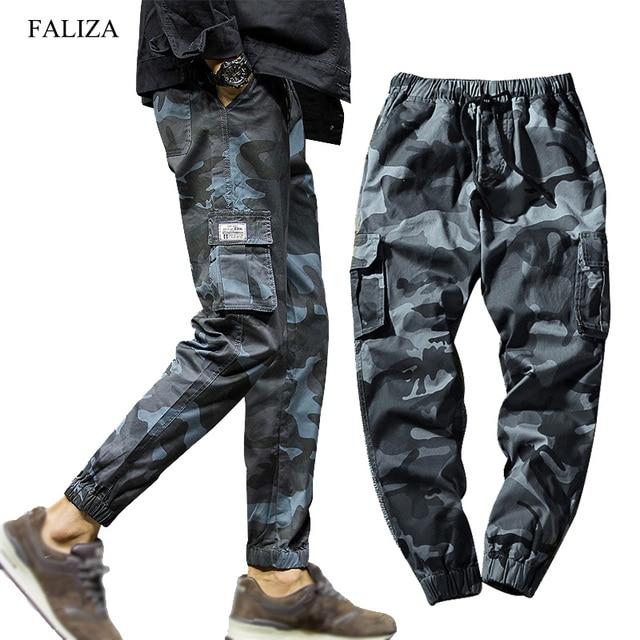 FALIZA 2019 Spring Mens Joggers Pants Camo Cargo Pants Men Jogger Harem Pants Camouflage Streetwear Pockets Trousers Men 7XL C56 Bullet Cheetah
