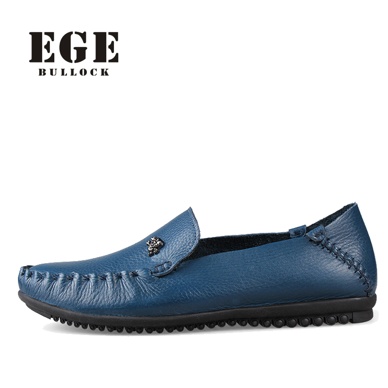 EGE Brand Men Loafers Handmade Genuine Cow Leather Slip-on Spring Male Shoes Breathable Driving Shoes Soft Moccasins for Men dxkzmcm new men flats cow genuine leather slip on casual shoes men loafers moccasins sapatos men oxfords