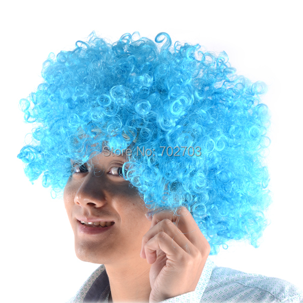Fancy dress Halloween cosplay Circus costume accessory Football fans Clown light blue Short Curly Wig