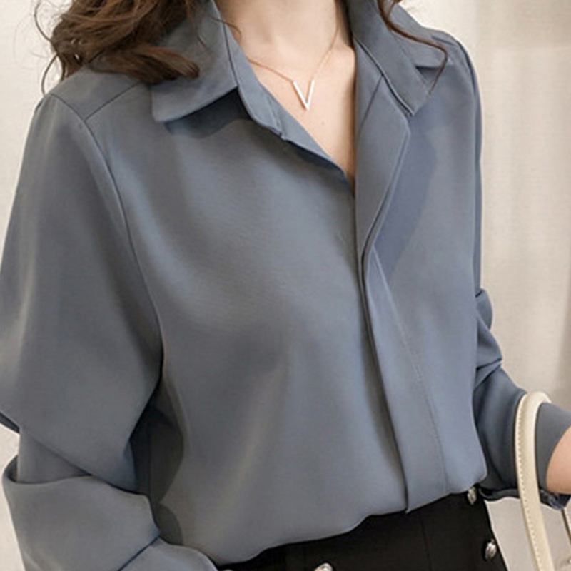 2019 Korean Ulzzang Womens Solid Turn-down Collar Chiffon Tops And   Blouses   Ladies Casual V-Neck Long Sleeve   Shirts   Blusas Mujer