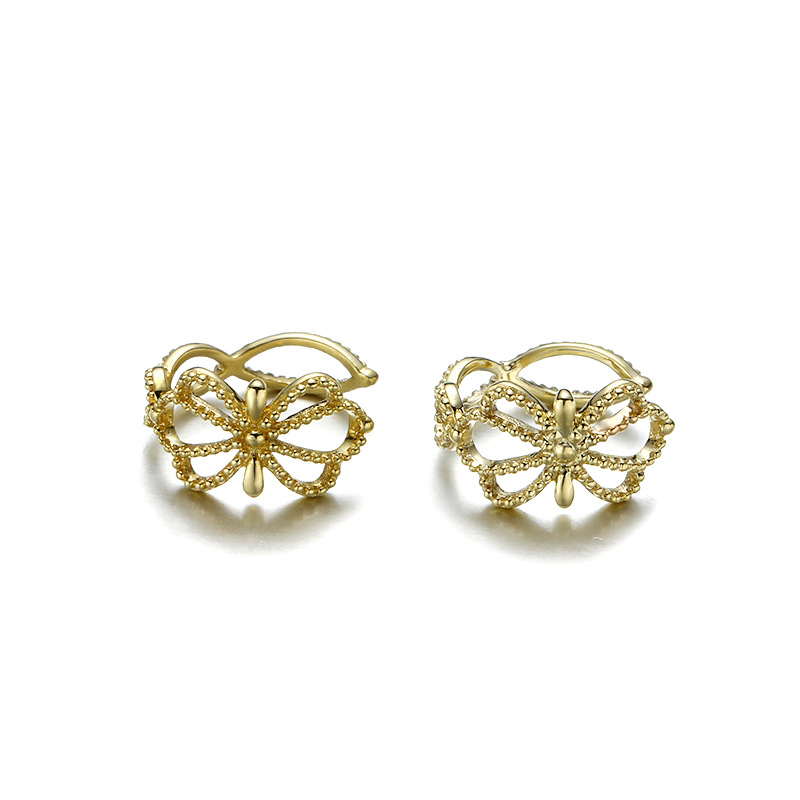Baroque 9K Pure Real Yellow Gold Flower Floral Clip Earrings for Women Girl Fancy Solid Genuine Fine Jewelry Anniversary Gift