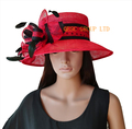 NUEVO Rojo negro Polka dot Sombrero Sinamay sombrero elegante w/de cóctel de plumas para Las Carreras de Ascot, Copa de Melbourne, kentucky derby. Boda, iglesia