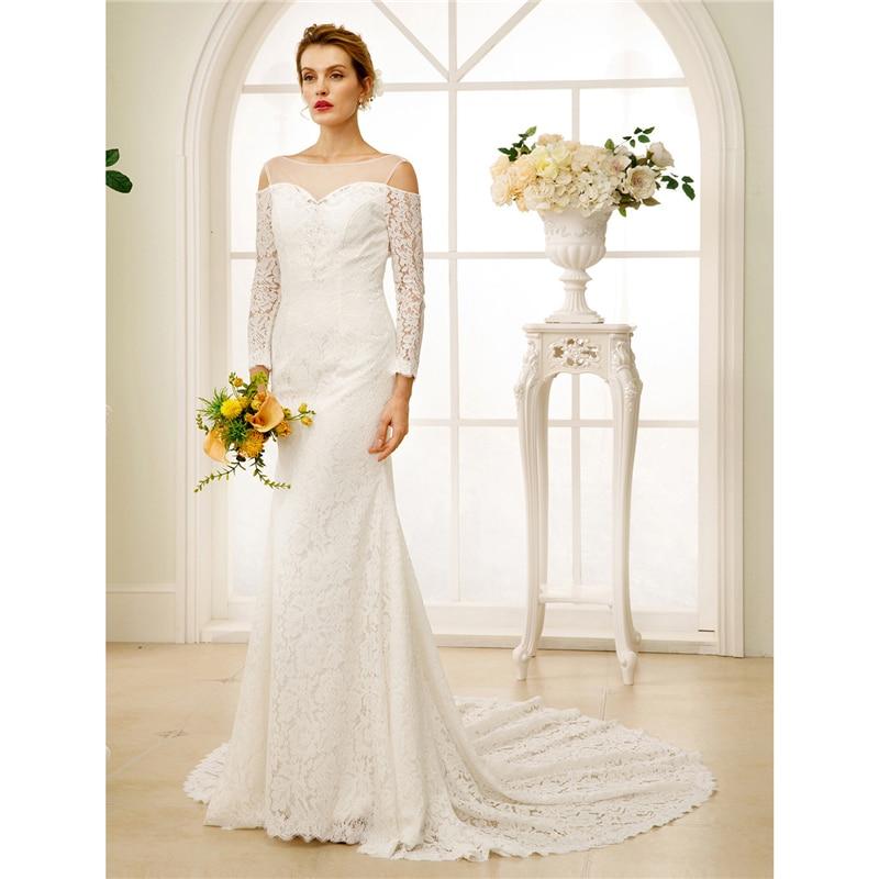LAN TING BRIDE Sheath Column Wedding Dress Long Sleeves O