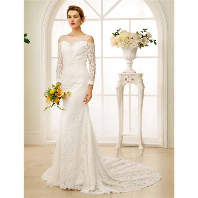 Lan Ting Bride Sheath Column Wedding Dress Long Sleeves O Neck Chapel Train Lace