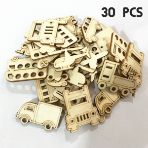 30 Pcs Car/Train Wooden Mixed