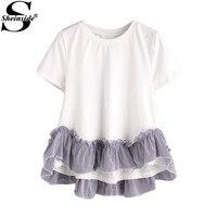 Sheinside Patchwork Hi Lo A Line T Shirts White Striped Ruffle Trim Cute Women Summer Tops