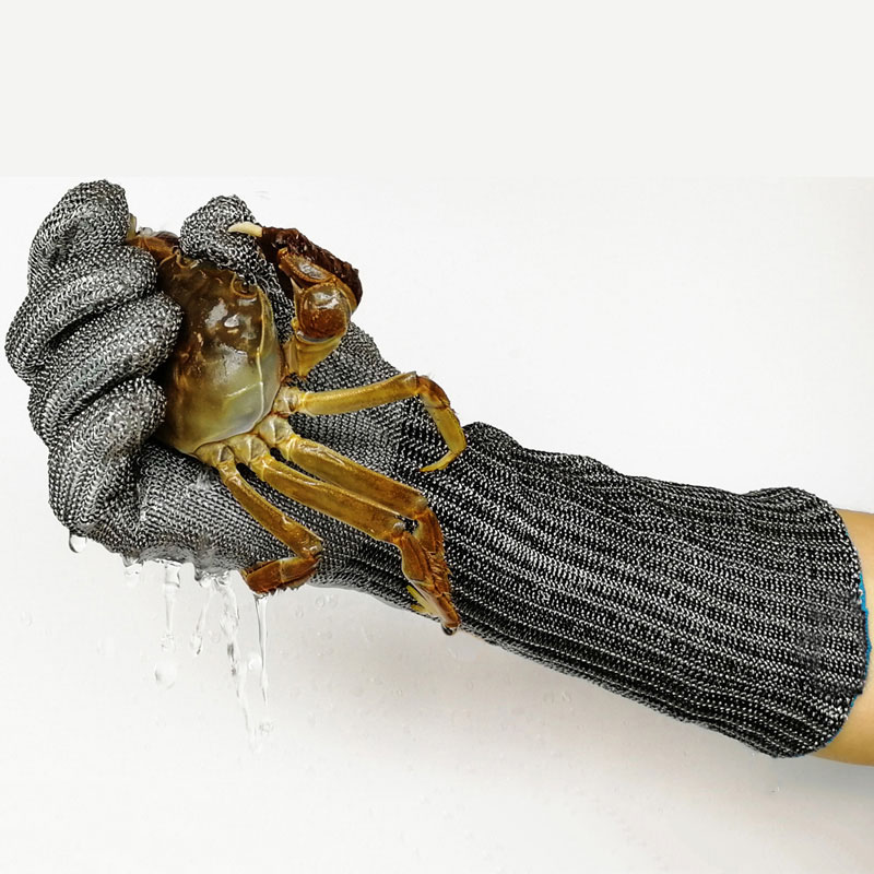 1pc Anti-cutting Gloves 316L Stainless Steel Arm Guard Stab-resistant Protective Gloves For Catch Crabs Fish Seafood Cut Meat