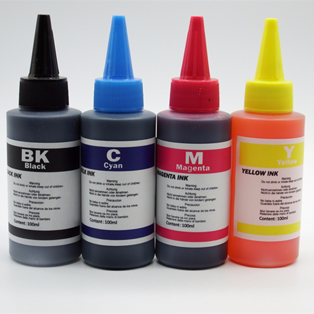wholesale Sale 100ML High quality universal Dye Refill Ink 4 Color Kit Kits For Brother ciss refillable ink cartridge General