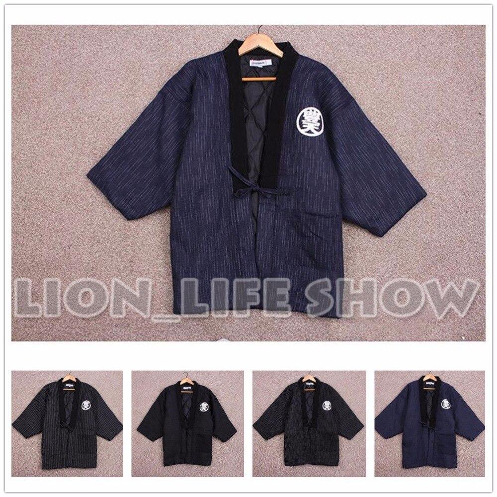 Japonais hommes femmes Hanten hiver chaud coton mélangé Kimono Haori manteau Outterwear