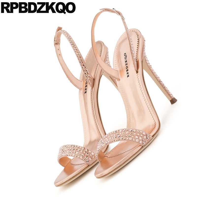 29bbf9e82 ... Slingback High Heels Stiletto Wedding Strap Bling Pumps Crystal Designer  Sandals Women Luxury 2018 Shoes Rose ...