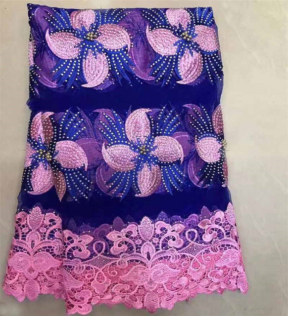 2018 Hot Sale African French Tulle Lace Fabric High Quality Elegant Nigeria Lace Material Wedding Dress With Lot of Bead ZQ1-4